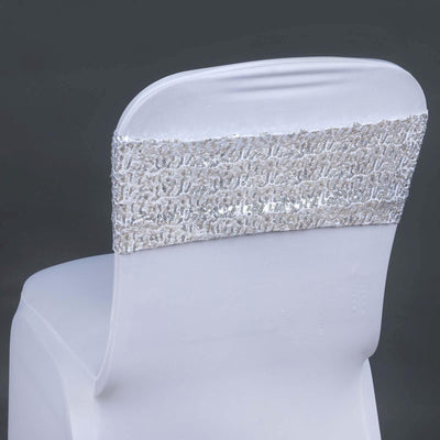 5 pack | 6x15 Silver Sequin Spandex Chair Sash