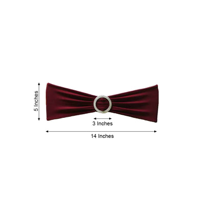 "5 pack | 5""x14"" Burgundy Spandex Stretch Chair Sash with Silver Diamond Ring Slide Buckle"