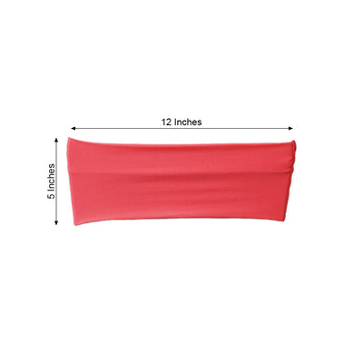 "5 pack | 5""x12"" Coral Spandex Stretch Chair Sash - Clearance SALE"