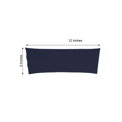 "5 pack | 5""x12"" Navy Blue Spandex Stretch Chair Sash"
