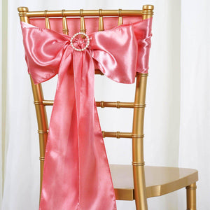 5pcs Rose Quartz SATIN Chair Sashes Tie Bows Catering Wedding Party Decorations - 6x106""