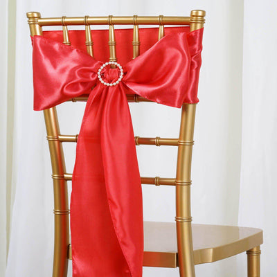 5pcs Coral SATIN Chair Sashes Tie Bows Catering Wedding Party Decorations - 6x106""