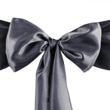"5 pack | 6""x106"" Charcoal Grey Satin Chair Sash"