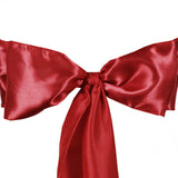 "5 pack | 6""x106"" Wine Satin Chair Sash"