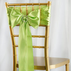 5pcs Apple Green SATIN Chair Sashes Tie Bows Catering Wedding Party Decorations - 6x106""