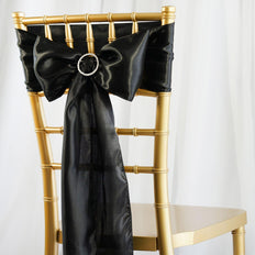 5pcs Black SATIN Chair Sashes Tie Bows Catering Wedding Party Decorations - 6x106""