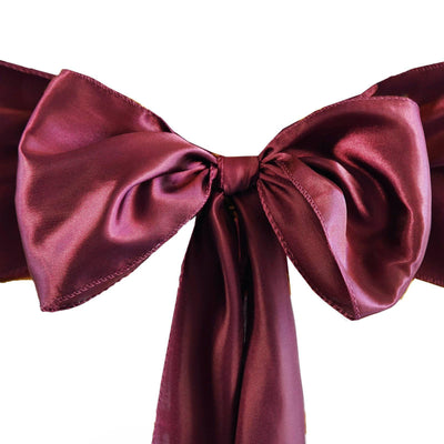 5pcs Burgundy SATIN Chair Sashes Tie Bows Catering Wedding Party Decorations - 6x106""