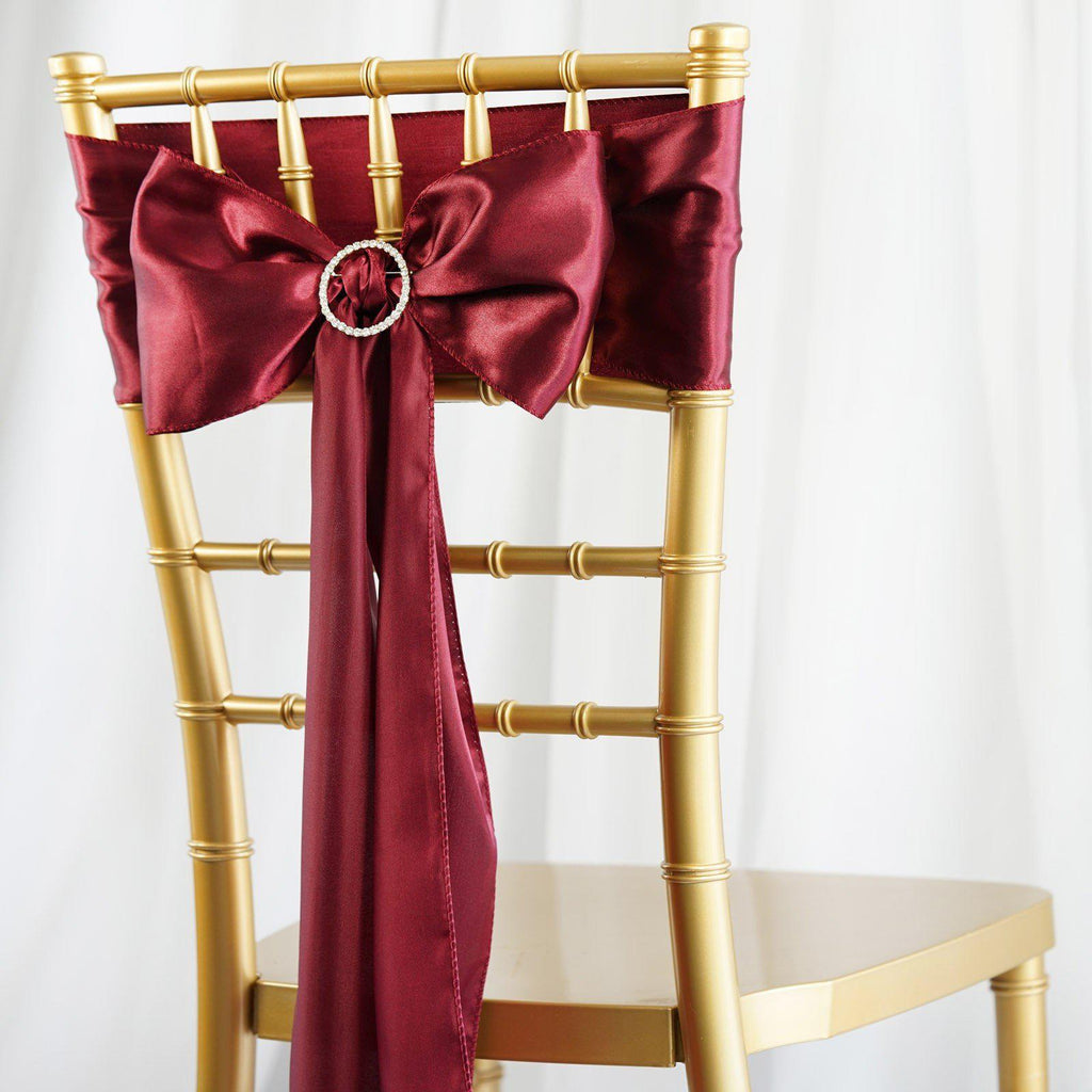 5pcs Burgundy Satin Chair Sashes Tablecloths Factory