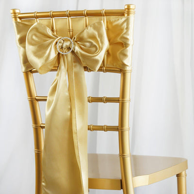5pcs Champagne SATIN Chair Sashes Tie Bows Catering Wedding Party Decorations - 6x106""
