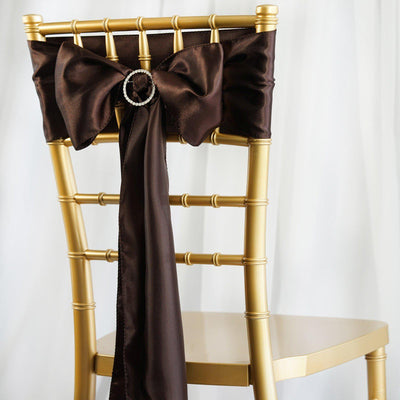 5pcs Chocolate SATIN Chair Sashes Tie Bows Catering Wedding Party Decorations - 6x106""