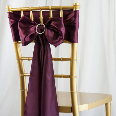 5pcs Eggplant SATIN Chair Sashes Tie Bows Catering Wedding Party Decorations - 6x106""