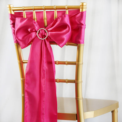 5pcs Fushia SATIN Chair Sashes Tie Bows Catering Wedding Party Decorations - 6x106""