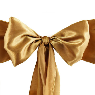 5pcs Gold SATIN Chair Sashes Tie Bows Catering Wedding Party Decorations - 6x106""