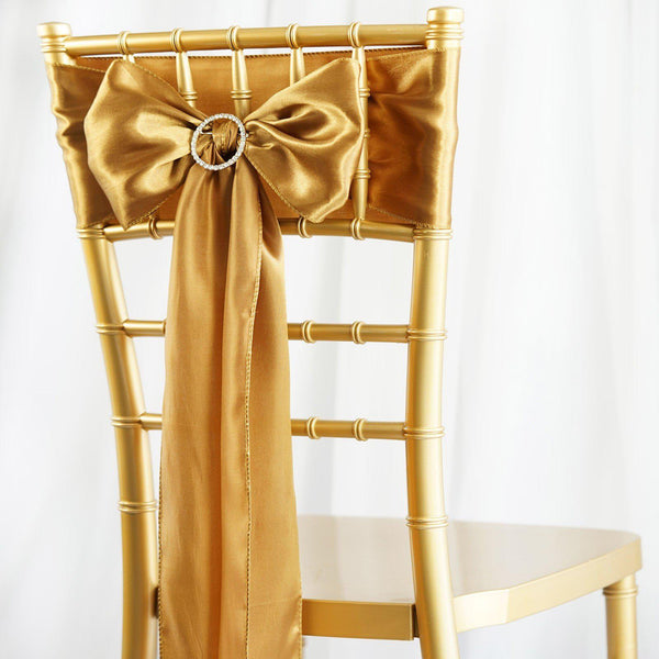 "5 pack | 6""x106"" Gold Satin Chair Sash"
