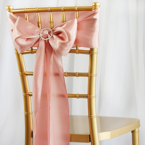 "5 pack | 6""x106"" Dusty Rose Satin Chair Sash"