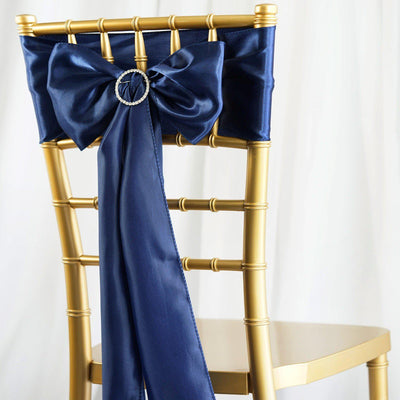 5pcs Navy Blue SATIN Chair Sashes Tie Bows Catering Wedding Party Decorations - 6x106""
