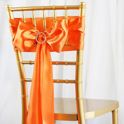 5pcs Orange SATIN Chair Sashes Tie Bows Catering Wedding Party Decorations - 6x106""