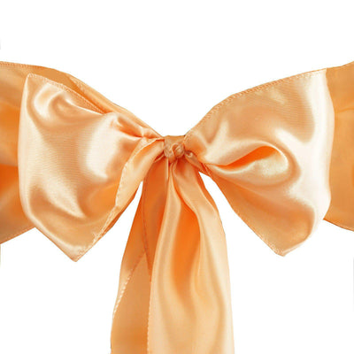 5pcs Peach SATIN Chair Sashes Tie Bows Catering Wedding Party Decorations - 6x106""