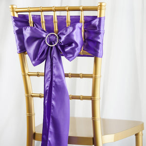 5pcs Purple SATIN Chair Sashes Tie Bows Catering Wedding Party Decorations - 6x106""