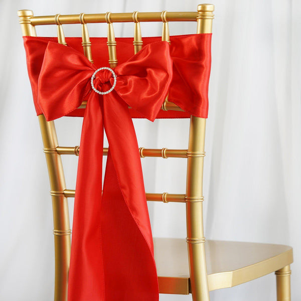 "5 pack | 6""x106"" Red Satin Chair Sash"