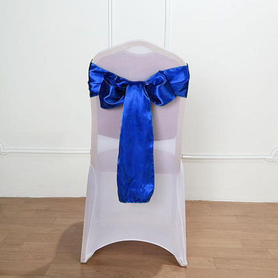 "5 pack | 6""x106"" Royal Blue Satin Chair Sash"