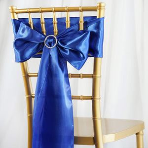 5pcs Royal Blue SATIN Chair Sashes Tie Bows Catering Wedding Party Decorations - 6x106""