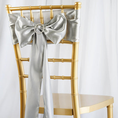 5pcs Silver SATIN Chair Sashes Tie Bows Catering Wedding Party Decorations - 6x106""