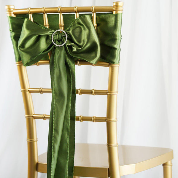 "5 pack | 6""x106"" Moss Green Satin Chair Sash"