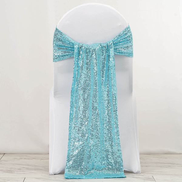 "5 Pack | 12""x108"" Serenity Blue Premium Sequin Chair Sashes"