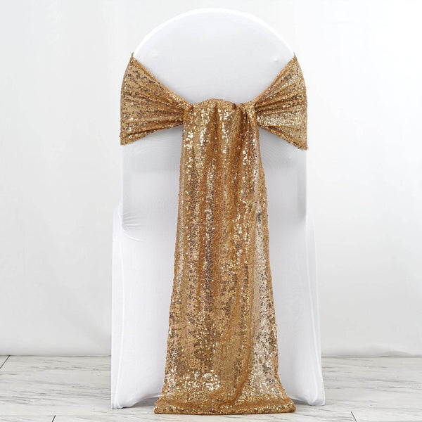 "5 Pack | 12""x108"" Gold Premium Sequin Chair Sashes"