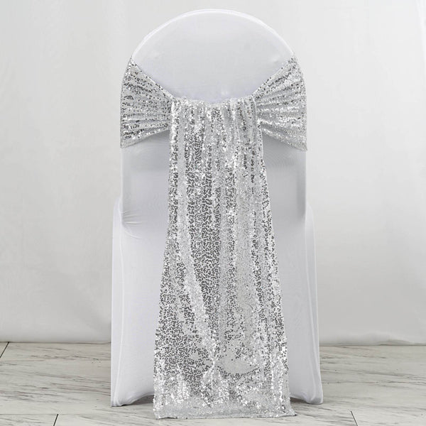 "5 Pack | 12""x108"" Silver Premium Sequin Chair Sashes"