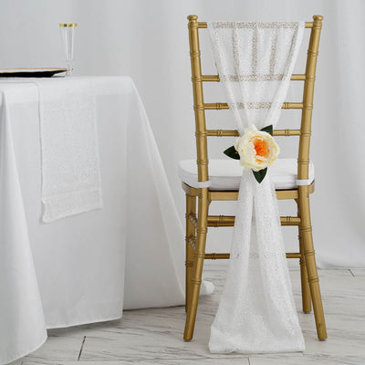 Chair Sashes, Sequin Fabric, Wedding Chair Decorations