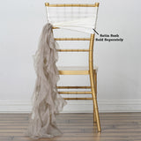 Natural Chiffon Curly Chair Sash