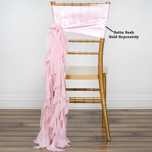 Chiffon Blush Curly Willow Chair Sashes