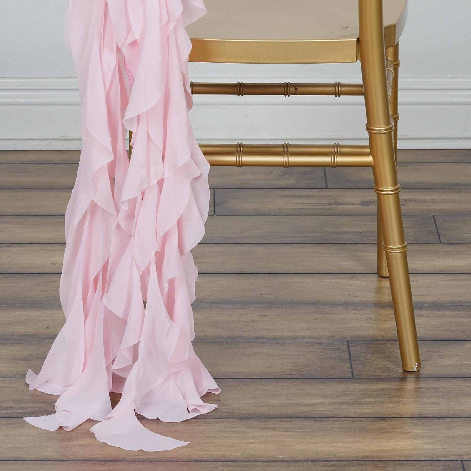 Rose Gold Blush Chiffon Curly Chair Sash Tablecloths Factory