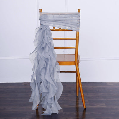 Dusty Blue Chiffon Curly Chair Sash