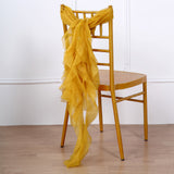 Mustard Yellow Chiffon Curly Chair Sash