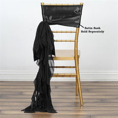 Chiffon Black Curly Willow Chair Sashes