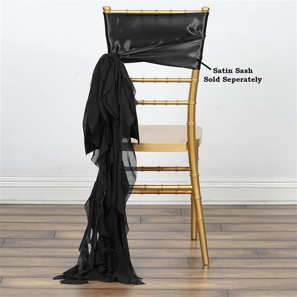 Black Chiffon Curly Chair Sash