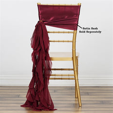 Chiffon Burgundy Curly Willow Chair Sashes