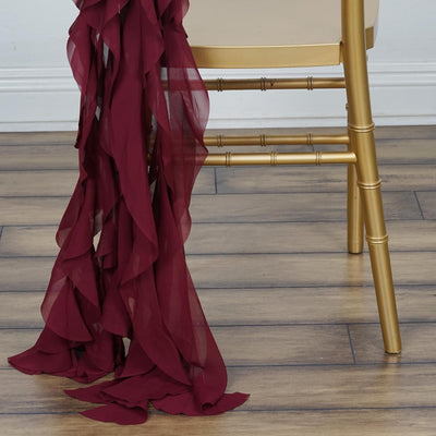 Burgundy Chiffon Curly Chair Sash