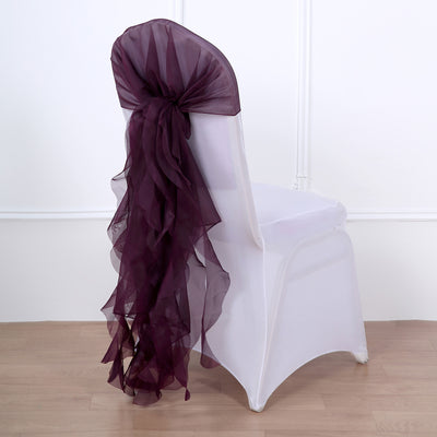 Eggplant Chiffon Curly Chair Sash