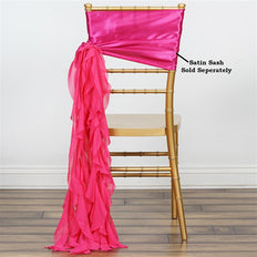 Chiffon Fushia Curly Willow Chair Sashes