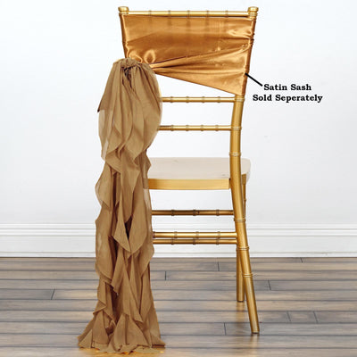 Gold Chiffon Curly Chair Sash