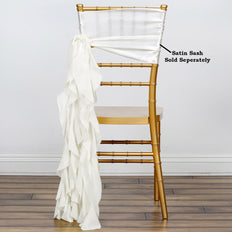 Ivory Chiffon Curly Chair Sash