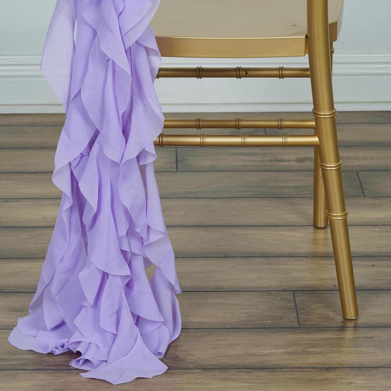 Chiffon Lavender Curly Willow Chair Sashes For Catering Wedding Party  Decorations
