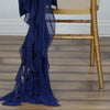 Navy Blue Chiffon Curly Chair Sash