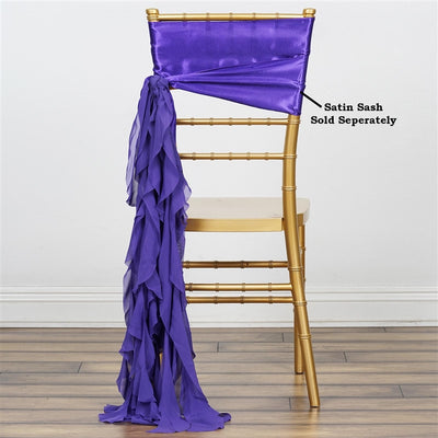 Chiffon Purple Curly Willow Chair Sashes