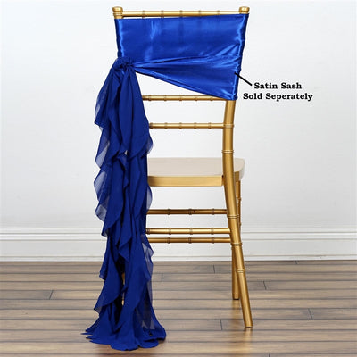 Chiffon Royal Blue Curly Willow Chair Sashes