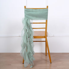 Sage Green Chiffon Curly Chair Sash